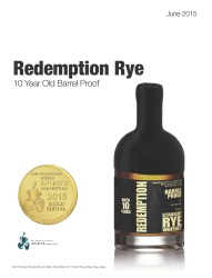 Redemption   Straight Rye Whiskey   10 Year Old Barrel Proof   Gold Medal   2015 San Francisco World Spirits Competition   June 2015   Review