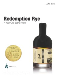 Redemption   Straight Rye Whiskey   7 Year Old Barrel Proof   Double Gold Medal   2015 San Francisco World Spirits Competition   June 2015   Review