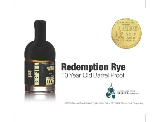Redemption   Straight Rye Whiskey   10 Year Old Barrel Proof   Gold Medal   2015 San Francisco World Spirits Competition   June 2015   Shelf Talker