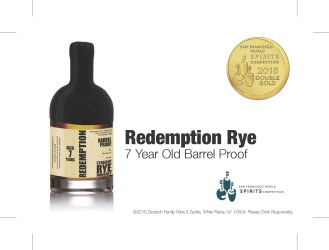 Redemption   Straight Rye Whiskey   7 Year Old Barrel Proof   Double Gold Medal   2015 San Francisco World Spirits Competition   June 2015   Shelf Talker