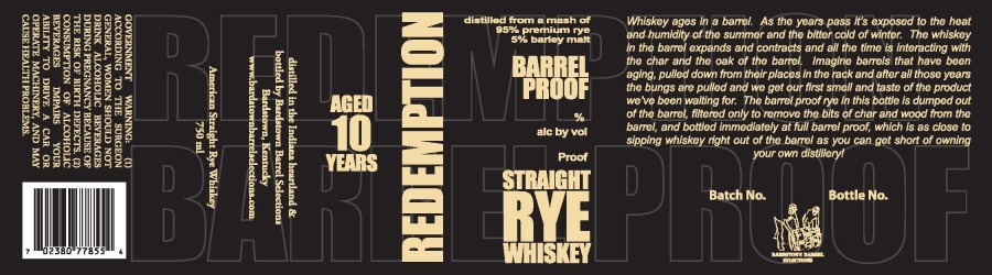 Redemption   Straight Rye Whiskey   Aged 10 Years   Label