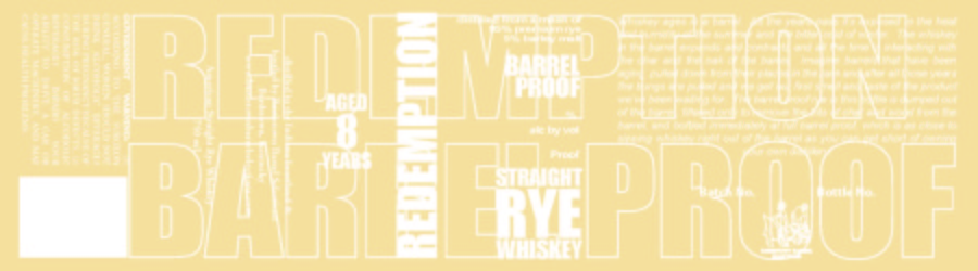 Redemption   Straight Rye Whiskey   Aged 8 Years   Label