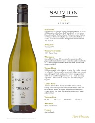 Sauvion   2014 Vouvray   Technical Sheet
