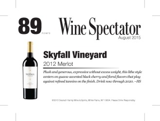 Skyfall Vineyard   2012 Merlot   89 Points   Wine Spectator   August 31 2015   Shelf Talker