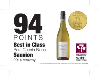 Sauvion    2014 Vouvray   2015 San Francisco International Wine Competition   94 Points Best in Class   Shelf Talker