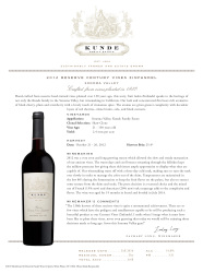Kunde Family Estate   2012 Reserve Century Vines Zinfandel   Sonoma Valley   Technical Sheet