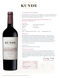Kunde Family Estate   2013 Merlot   Sonoma Valley   Technical Sheet