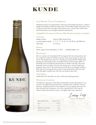 Kunde Family Estate   2014 Chardonnay   Sonoma Valley   Technical Sheet