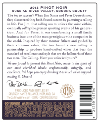 The Calling   2013 Pinot Noir   Back Label