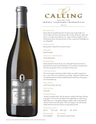 The Calling   2013 Jewell Chardonnay   Russian River Vallely   Technical Sheet