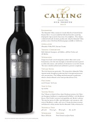 The Calling   Alexander Valley   2012 Our Tribute   Technical Sheet
