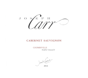 Joseph Carr   Coombsville Napa Valley   2012 Cabernet Sauvignon   Front Label