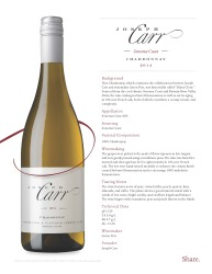 Joseph Carr   Sonoma Coast   2014 Chardonnay   Technical Sheet