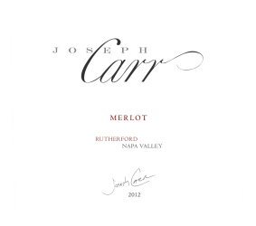 Joseph Carr   Rutherford Napa Valley   2012 Merlot   Front Label