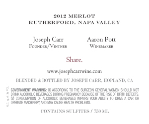 Joseph Carr   Rutherford Napa Valley   2012 Merlot   Back Label