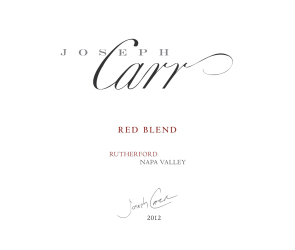 Joseph Carr   Rutherford Napa Valley   2012 Red Blend   Front Label