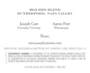 Joseph Carr   Rutherford Napa Valley   2012 Red Blend   Back Label
