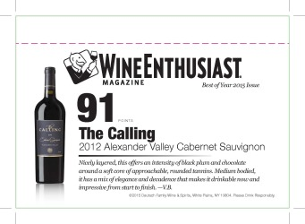 The Calling   2012 Alexander Valley   Cabernet Sauvignon   91 Points   Wine Enthusiast   Shelf Talker