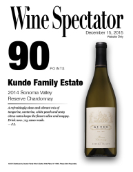 Kunde Family Estate   2014 Sonoma Valley Reserve Chardonnay   90 Points   Wine Spectator   December 15 2015   Online Exclusive   Review