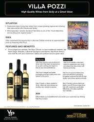 Villa Pozzi   High Quality Wines from Sicily   Sell Sheet