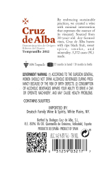 Cruz de Alba   Crianza   750 mL Rear Label